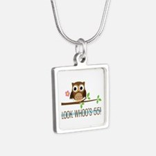 55th Birthday Owl Silver Square Necklace