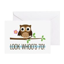 70th Birthday Owl Greeting Card