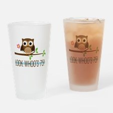 75th Birthday Owl Drinking Glass