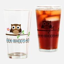 80th Birthday Owl Drinking Glass