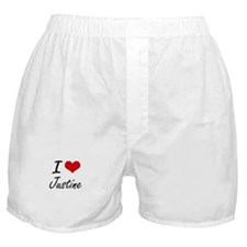 I Love Justine artistic design Boxer Shorts