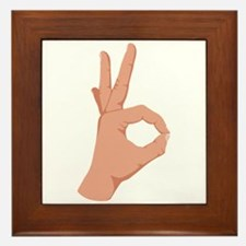 Okay Hand Sign Framed Tile