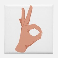 Okay Hand Sign Tile Coaster