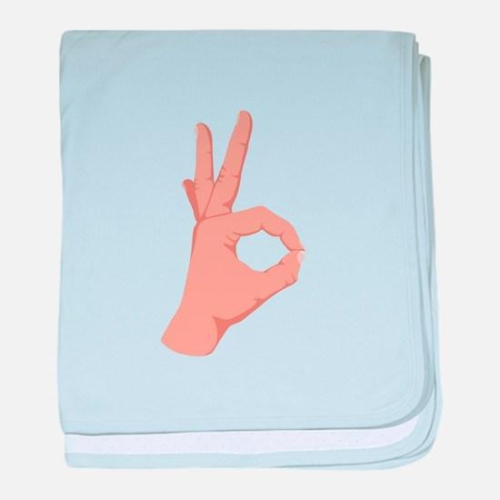 Okay Hand Sign baby blanket