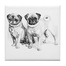 2 Precious Pugs Tile Coaster