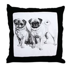 2 Precious Pugs Throw Pillow