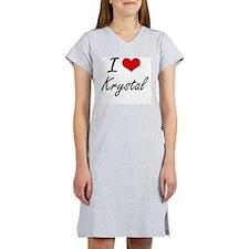 I Love Krystal artistic design Women's Nightshirt