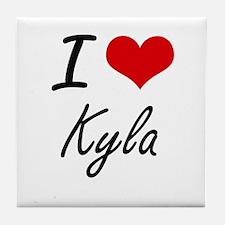 I Love Kyla artistic design Tile Coaster