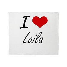 I Love Laila artistic design Throw Blanket