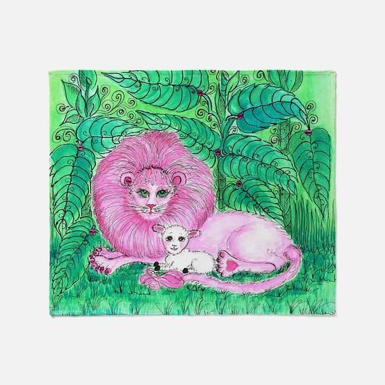Pink Jungle Throw Blanket