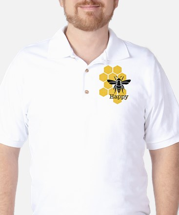 Honeycomb Bee Happy Golf Shirt