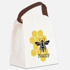 Honeycomb Bee Happy Canvas Lunch Bag