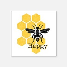 "Honeycomb Bee Happy Square Sticker 3"" x 3"""