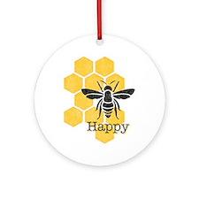 Honeycomb Bee Happy Round Ornament