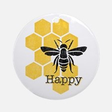 Honeycomb Bee Happy Round Ornament
