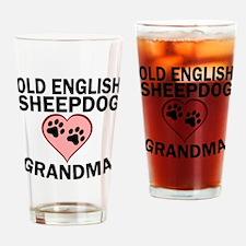 Old English Sheepdog Grandma Drinking Glass