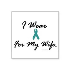 "Cute Cervical cancer teal ribbon Square Sticker 3"" x 3"""