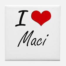 I Love Maci artistic design Tile Coaster