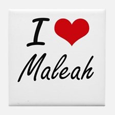 I Love Maleah artistic design Tile Coaster