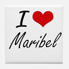 I Love Maribel artistic design Tile Coaster