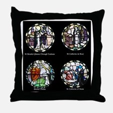 Benedictine Traditions in Stained Gla Throw Pillow