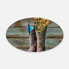 cowboy boots barn wood Oval Car Magnet