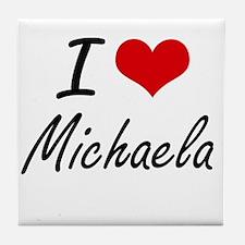 I Love Michaela artistic design Tile Coaster