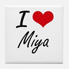 I Love Miya artistic design Tile Coaster