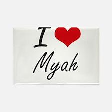 I Love Myah artistic design Magnets