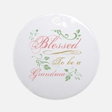Blessed To Be A Grandma Round Ornament
