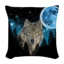 Wolf StarLight Woven Throw Pillow