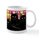 Black cats Valentine Hearts Art Mug