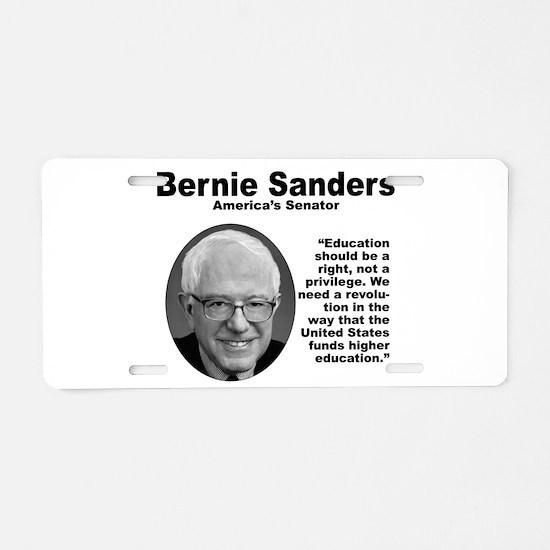 Sanders: Education Aluminum License Plate