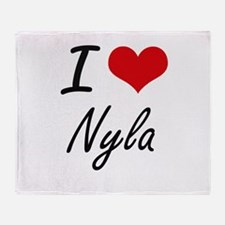 I Love Nyla artistic design Throw Blanket