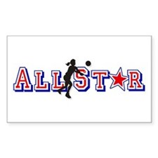 All Star Volleyball Rectangle Decal