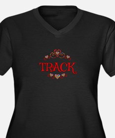 Track Hearts Women's Plus Size V-Neck Dark T-Shirt
