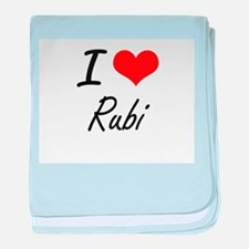 I Love Rubi artistic design baby blanket