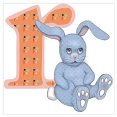 Cute baby blue rabbit with the letter R monogram Poster
