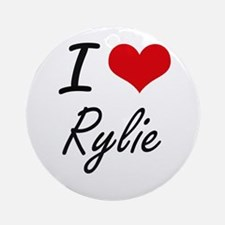 I Love Rylie artistic design Round Ornament