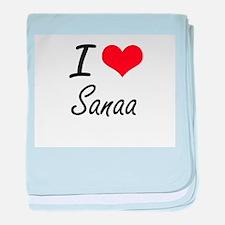 I Love Sanaa artistic design baby blanket