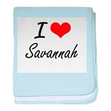 I Love Savannah artistic design baby blanket