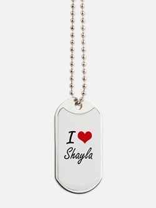 I Love Shayla artistic design Dog Tags
