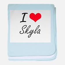 I Love Skyla artistic design baby blanket