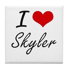 I Love Skyler artistic design Tile Coaster