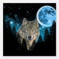 "Wolf StarLight Square Car Magnet 3"" x 3"""