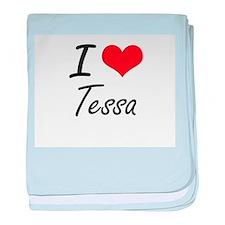 I Love Tessa artistic design baby blanket