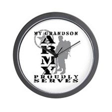 Grandson Proudly Serves 2 - ARMY Wall Clock