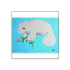 "Cute Manatee mermaid designs Square Sticker 3"" x 3"""