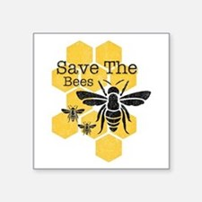 "Honeycomb Save The Bees Square Sticker 3"" x 3"""
