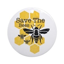 Honeycomb Save The Bees Round Ornament